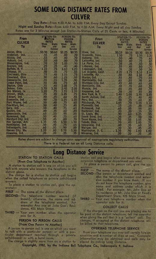 Culver Telephone Directory - 1952